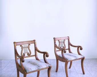 vtg 40s mid century NEOCLASSICAL empire french LYRE harp BACK carved arm chairs