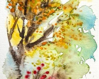 Original watercolor painting on school Maple autumn light