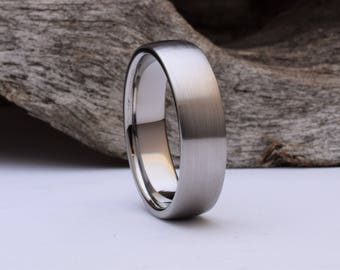 Titanium ring with a domed shape and brushed finish, mens titanium wedding rings men, titanium ring mens, mens titanium wedding band mens