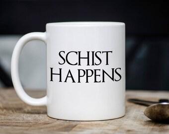 Schist Happens Mug, Geologist Science Pun Coffee Cup, Gift for Co Worker, Humor Funny Mug Birthday Christmas Gift Idea