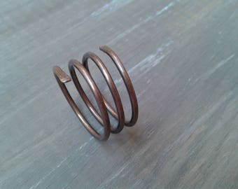 Copper ring, spiral, spiral ring three laps, anniversary gifts, unisex