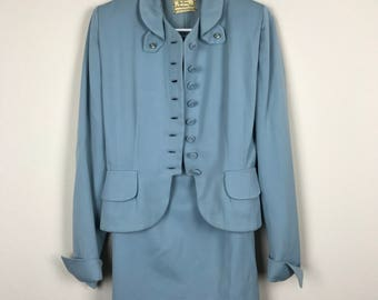 Vintage Women's Blue Military Jacket Skirt Suit Set The Young Baltimorean Size S