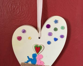 Dorphy's Handmade In Yorkshire Hand Decorated Wooden Heart Wall Hanging