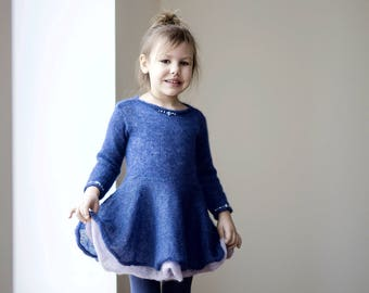 Colorful knit dress for girl, warm dress for kid, deep blue fairy princess dress with beads, elegant occasion dress with hand embroidery