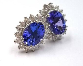 Tanzanite Earrings; Natural Tanzanite Stud Earrings, 1.59 Carats; Sterling Silver