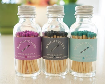 Colored Matchstick Jar - colored matches - 60 count