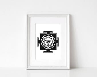 Kali Yantra Print, Hindu Yantra Wall Art, Yantra Printable Download, Sacred Geometry Print, Mistic Print, Tantra Wall Art
