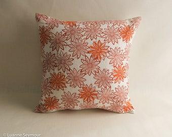 Designer throw pillow cover, linen pillow, block printed, hand block printed pillow cover, repurposed linen pillow cover