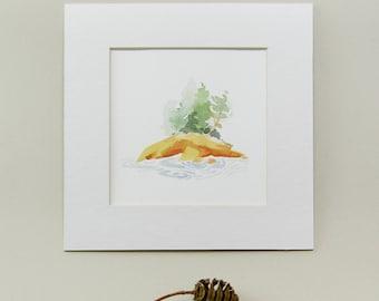 Original Watercolor, Maine, Island, Landscape Painting