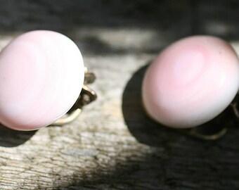 Vintage Italian Angel Skin Coral Earrings Clip on / Gilded 800 Silver  /  Free Shipping Worldwide.