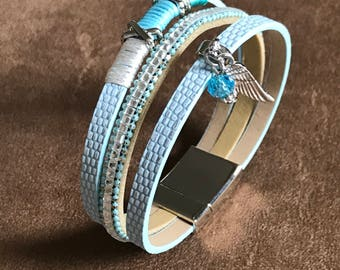 Baby Blue Multi Leather Strand Charm Bracelet with Dangle wing and Bead
