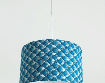Chandelier hanging ceiling light blue geometric diamond ombre - cylindrical Lampshade - round 28cm cylinder + wire