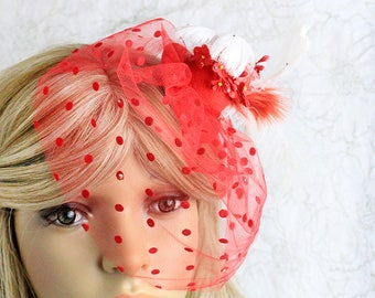 red fascinator hat feathers hair decor red veil hat kentucky derby flower fascinator red headpiece crystal floral hat wedding mini hat M1