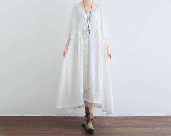 Floral lace dress, white lace dress, bridesmaid dress, vintage dress, long lace dress, lace skirt chiffon dress beach dress, summer dress 43