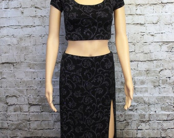 Black & Silver Glittered Skirt andTop Set - Size Small
