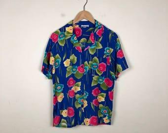 90s Hawaiian Button Up Size Medium, Vintage Hawaiian Up