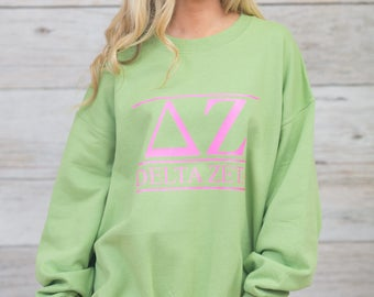 Delta Zeta Sweatshirt..DZ Sweatshirt..Oversized Sorority Sweatshirt..Little Sister Gift..Senior Gift..Homecoming Sweatshirt