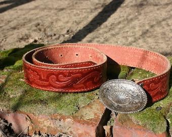 Leather belt, Tooled leather belt, Vintage leather belt, Brown leather belt, Vintage belt, Hippie belt, Boho leather belt, Country belt
