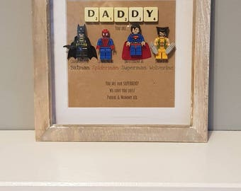 Daddy superhero, Superhero dad, Marvel, Fathers day gift,  LEGO, Special dad, Birthday present, Avengers frame, Lego frame, Gift for him, DC