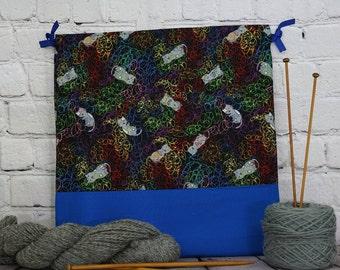 Cats and Yarn bag,  Knitting Bag, Crochet Bag, Yarn Bag,  Project Bag, Sock knitting bag, Drawstring Bag