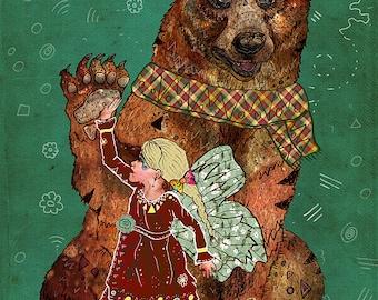 MAGIC BEARER 5x7 Fine Art Print // Bear Print, Bear Art, 5x7 Bear Print, Bear Art Print, Bear Illustration, Fairy Girl Print, Bear Nursery