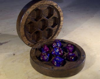 Round Dice Box for DND, Dungeons and Dragons, RPG, Dice Case, D20