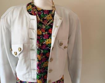 Vintage 1980's White Leather Jacket