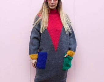 Vintage 80's Block Print Mohair Jumper Dress