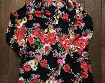 Floral print long shirt