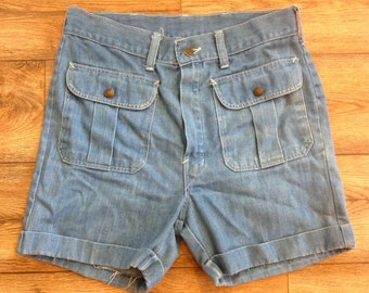 Vintage 1970s denim shorts with front snap pockets