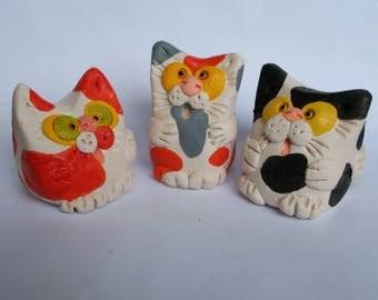 Ceramic figurine Cat, statuette cat, ceramic cat, kitten, Black and white cat, three colored cat, Calico Cat, red cat, ceramic calico, cat