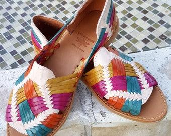 Multicolor Women's leather sandals. Mexican huarache sandals.