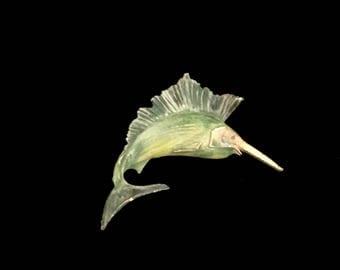 Fun 50s Handprinted Swordfish Brooch   GJ2868