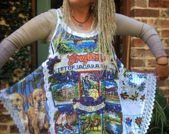 Upcycled Recycled Pullover Pinafore Embellished Onesize