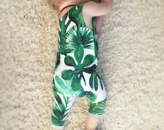 Baby romper, palm leaf outfit, baby vacation, summer baby outfit