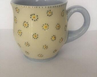 White and blue mug