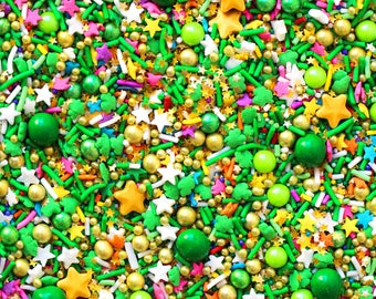 Pot O' Gold Sprinkle Blend,St. Patricks Day Sprinkles, Sprinkle Blend, Crunchy Sprinkles, Green Sprinkles, Edible Sprinkles, fancy sprinkles