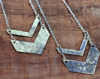 Chevron necklace, double chevron necklace, geometric modern jewelry, long chevron necklace, rustic patina