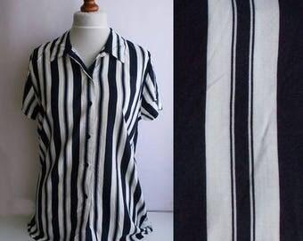 Vintage Striped Shirt, Nautical shirt, Striped shirt, Nautical striped shirt, White and navy shirt, Sailor shirt, Retro shirt, Size M/L