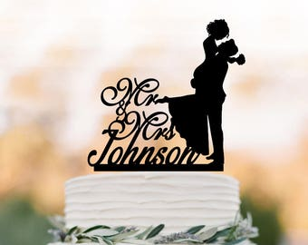 custom Wedding Cake topper mr and mrs with couple silhouette