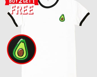 Avocado Embroidered Ringer T-Shirt by 24PlanetsStudio
