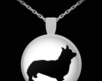 """Adorable Corgi Silhouette Necklace with Pendant! Ideal gift for an animal lover! Wear this proudly on 22"""" silver plated necklace!"""