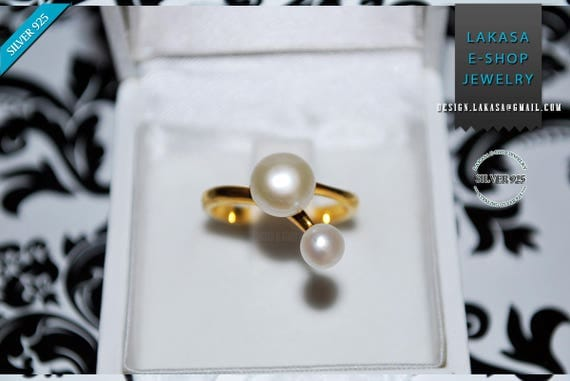 Double Freshwater Pearl Ring Sterling Silver Gold Handmade Jewelry Gift forher Anniversary Princess Valentine Love Bridal Greek Style Modern