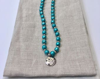 Turqouise Seaside Beaded Necklace With Sand Dollar Charm - 17 inches