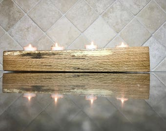 Rustic Log Tea Light Candleholder