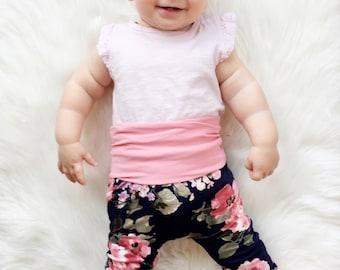 Maxaloones | Grow With Me Pants | Baby Leggings | Floral Baby Leggings | Floral Baby Pants | Navy Floral Baby Pants