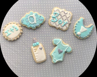 Blue and Gray Baby Shower Cookies - 6 piece set