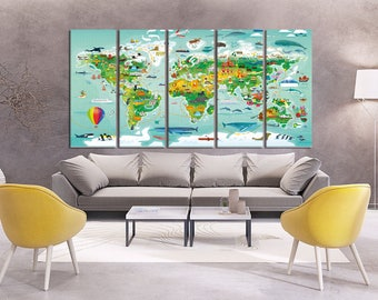 nursery world map canvas print nursery map for kids world map with animal wall art kids world map kids map world map wall art hr40