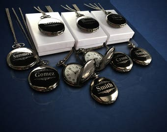 13 Personalized Pocket Watches - 13 Groomsman engraved gifts - Usher & Officiant gifts - Best Man - Father of the Bride - Personalized gifts
