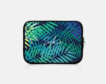 Custom Laptop Case, Tropical Laptop Sleeve, Palm Leaf Laptop Sleeve, Zipper Neoprene Laptop Sleeve 15 inch, Macbook Pro 15 inch Sleeve